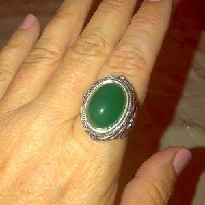 Green aventurine ring in sterling silver
